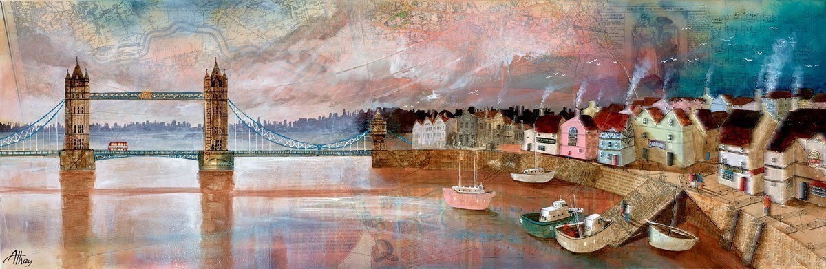 Tower Bridge Harbour by Keith Athay -  sized 47x16 inches. Available from Whitewall Galleries